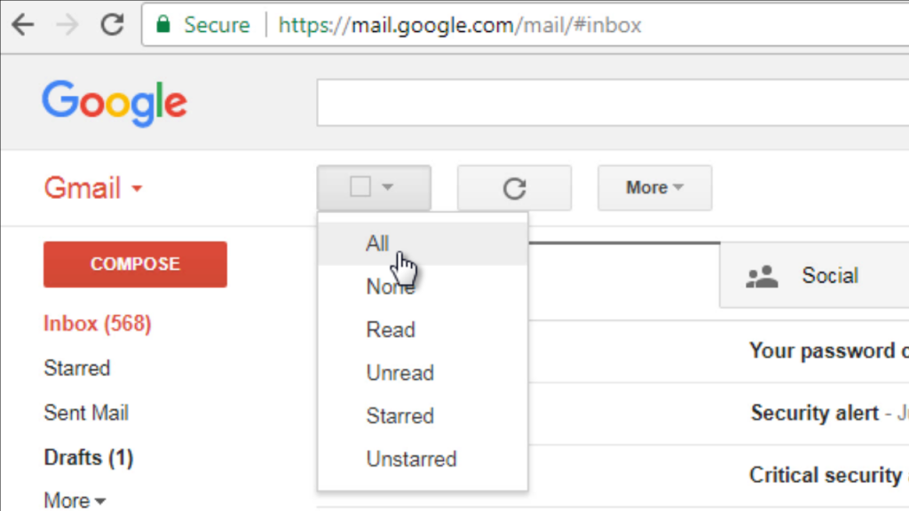 Select All emails option