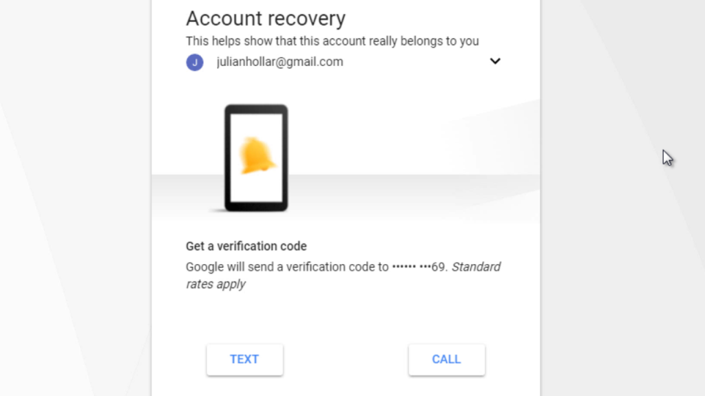 Gmail password recovery by phone