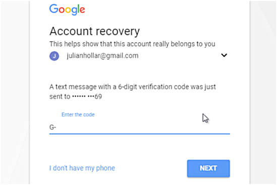 Gmail recover password by phone