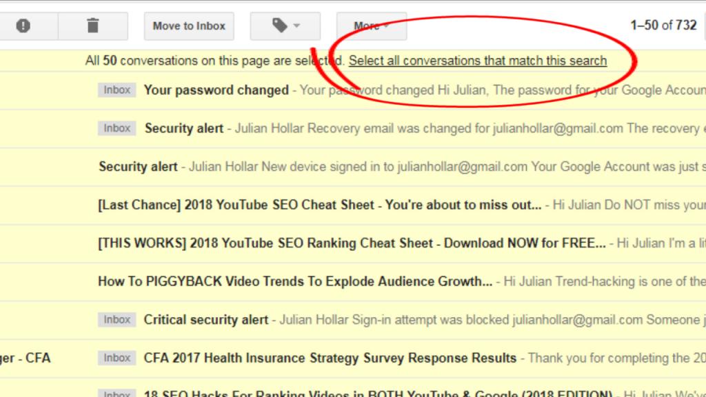 gmail unread select all