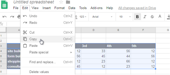 copy table from sheets