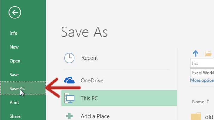 Excel Save As