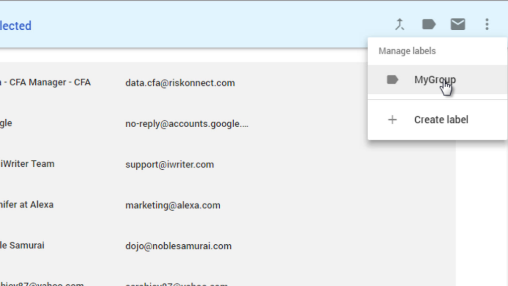 gmail assign contacts to group