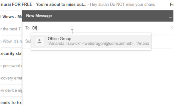 Gmail email compose to group