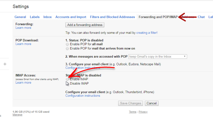 gmail enable IMAP