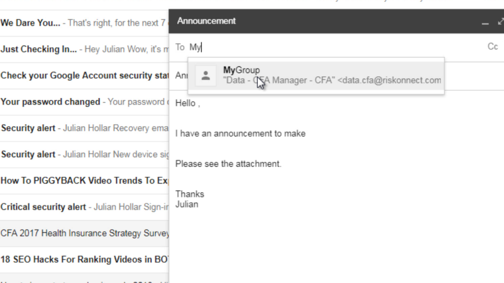gmail send email to group