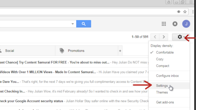 Gmail settings menu item