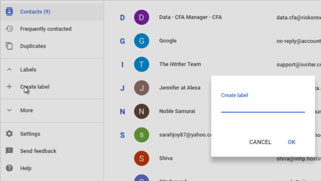 creating new group in gmail