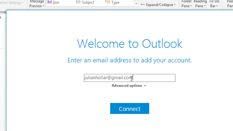 Outlook Enter email
