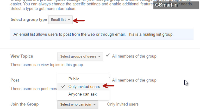 email group options