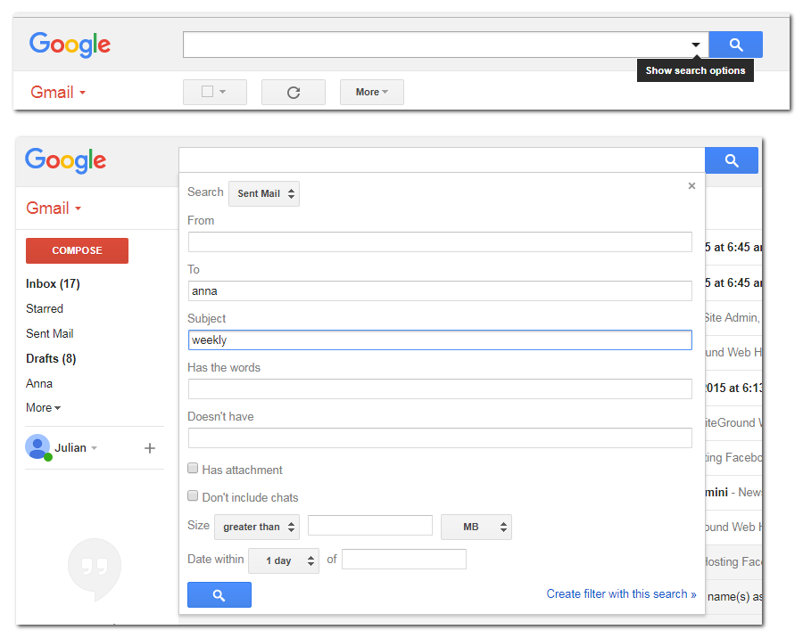 Gmail Search options UI