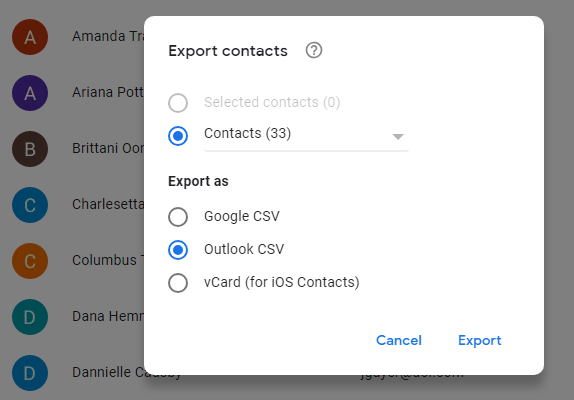 How to export Gmail contacts into Outlook | blog gsmart in