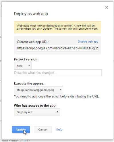 Apps Script Publish button