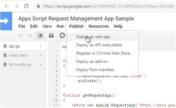 Apps Script Publish Menu