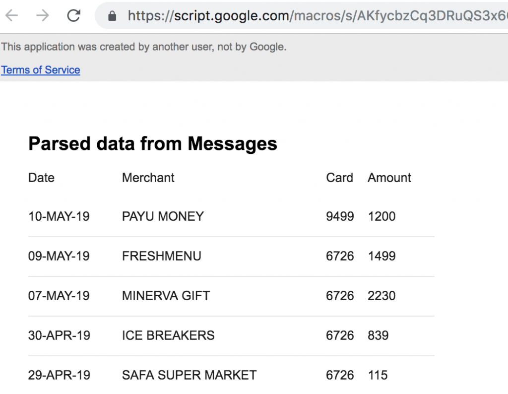 gmail parsed data