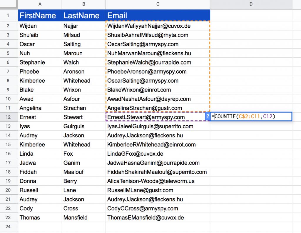 google sheet duplicates using countif