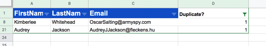 google sheets filter duplicates