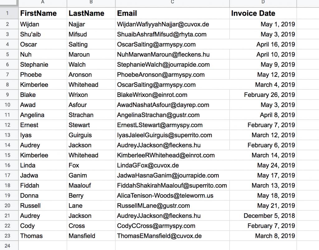 Invoice due Google Sheets