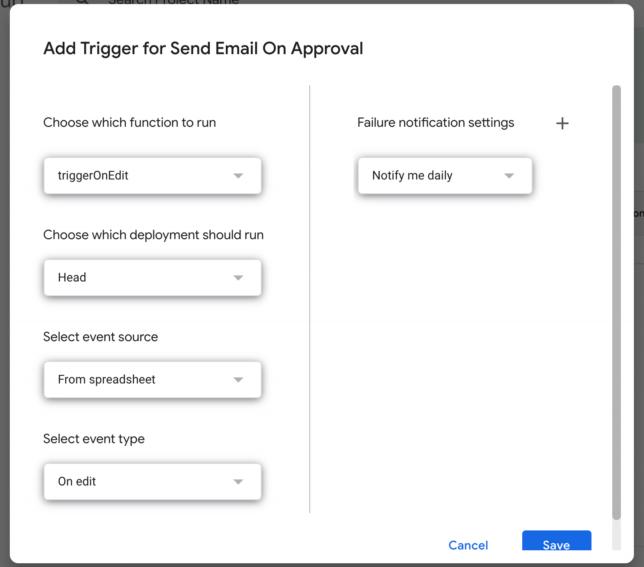 on edit trigger for Google Sheets