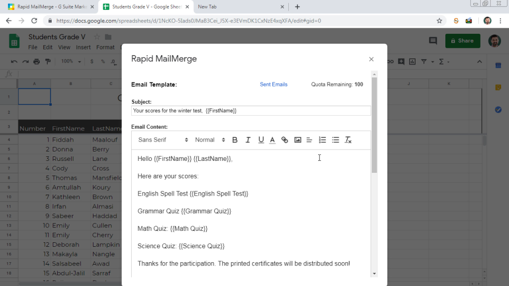 Rapid MailMerge compose email